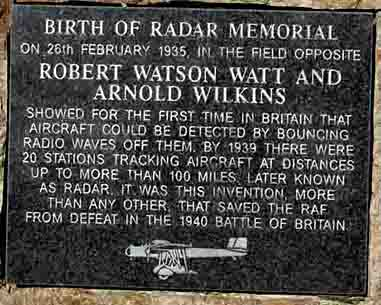 The inscription on the Birth of RADAR memorial stone
